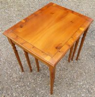 Yew Wood Nest of Three Coffee Tables